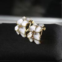 Wholesale Gardenia Flower Plant - Elegant Crystal Earring Fashion Gold Edge Piping Gardenia Flower Stud Earrings for Women Girls Party Ear Jewelry Korean Style