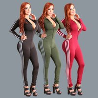 Wholesale womens clubwear jumpsuits - Casual Skinny Long Sleeve Slim Ladies Romper Womens Tight Lapel Neck With Zipper Playsuit Jumpsuit Trouser Clubwear