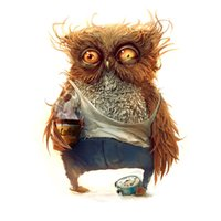 Wholesale Live Coffee Plant - The Brown Owl With Coffee Print Diamond Embroidery DIY Needlework Diamond Painting Cross Stitch 5D Rhinestones Painting Home Decor