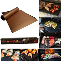 Wholesale bamboo picnic - Non-Stick BBQ Grill Mat Thick Durable 33*40CM Gas Grill Barbecue Mat Reusable No Stick BBQ Grill Mat Sheet Picnic BBQ Tools