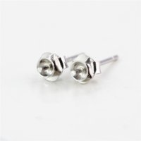 Wholesale mounted stud earrings - Sterling Silver 925 Plated White Gold Stud Earrings Semi Mount for 3-6mm round bead or Pearl Fine Jewelry Setting Women Girl Gift