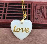 Wholesale Yellow Gold Jewellery Sets - Fiery jewellery set hetian jade heart-shaped pendant, both sides can wear