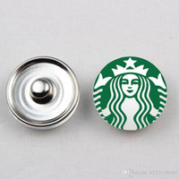 Wholesale Wholesale Starbucks Charms - 20pcs Hot Selling Glass Starbucks Coffee Glass Snap Button 18mm Fits Ginger Snaps Button Bracelet Jewelry
