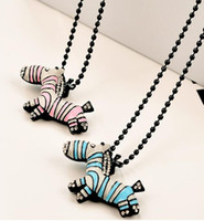 Women's bling zebra - Women s pink blue bling bling Zebra Horse Pendant sweater chain long Necklace chains Jewelry Gifts for girls lady
