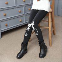Wholesale Thick Cashmere Tights - Free shipping 2016 hot new cute cat winter pants children girl leggings tights warm thick soft nap elastic kids clothes black grey