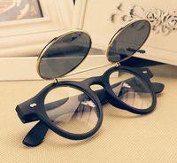 флип закругленные солнечные очки оптовых-Мода ретро старинные панк-стили 1950-х годов Мужчины Женщины солнцезащитные очки Солнцезащитные очки флип вверх кибер круглые очки Очки