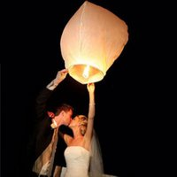 Wholesale Wishing Balloon For Wedding - White Paper Chinese Sky Lanterns Wishing Lamp Balloon for Birthday Wedding Party DHL free shiping 100 pcs lot usa #06