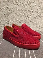 Wholesale Roller Clay - Luxury Brand Wedding Dress Men's Strass Spike &Strass Slip On Loafers Casual Walking Women Red Bottom Roller-Boat Women Flat