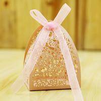 lasergravierte boxen großhandel-Hochzeit Favor Candy Box Mini Laser Gravierte Geschenkbox Party Favors Kreative Pralinenschachtel kann 2 Stück Ferrero Rocher setzen