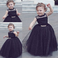 Wholesale Tulle Dot Ball Gown Wedding - New Black Ball Gown Flower Girls Dresses Sheer Jewel Neckline Toddler Pageant Dress Floor Length Dot Tulle First Communion Gowns