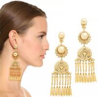 Wholesale Pearl Drop Earrings White Gold - New Baroque Pearl Drop earrings for women Vintage Jewelry Matte Gold Carving Dangle Earrings Chain Tassel pendant Earrings