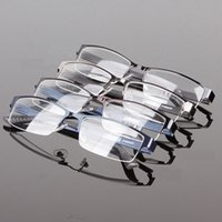 Atacado- New Wholesales Durable Mens Eyewear Metal Frame Meia Designer Rim Clear Lens Eye Glasses Frame