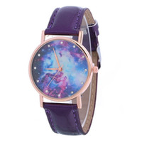Wholesale Star Chronograph - Colorsful Star pattern watches stars sky design leather watch fashion students quartz watches for women girls wholesale dress wristwatch