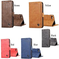 Wholesale Plastic Id Pouch - Retro Matte Leather Wallet Case Pouch For Samsung Galaxy S8 S9 Iphone 8 7 Plus 6 6S ID Card Stand Money Photo Phone Skin Cover Luxury 50pcs