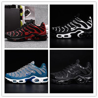 Wholesale Shoes Color Red - 2017 Men's AIR Tn shoes leather TN kpu running shoes breathable shoes classic color size 40-46