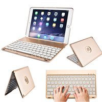 Wholesale Led Ipad Cases - For New iPad 9.7 Air Wireless Keyboard Case F8S 7 Colors LED Backlit Bluetooth Keyboard with Protective Cover for 2017 iPad Pro
