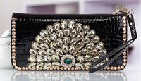 Wholesale Peacock Holder - 2017 latest patent leather ladies wallet shiny peacock holding bag multi-card bit large capacity wallet free shipping
