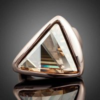 Wholesale White Gold Swarovski Crystal Ring - Wholesale Rose Gold Plated Swarovski Elements Gold Color Triangle Austrian Crystal Ring Women Jewlery TR0015