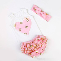 Wholesale Gold 24 Set - Little Girls Boutique Outfit Newborn Baby Top Bloomer Set Gold Polka Dots Toddler Outfit for Girls Vest Tanks Lace Shorts Headband Headwrap