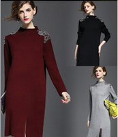 Wholesale Womens Xl Beaded - knee length womens sweater dresses autumn 2018 fashion beaded on shoulders stand collar long sleeves split side ashort party dresses