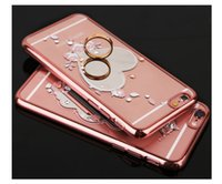 Wholesale Diamond Series - Electroplated Diamond Mirror Shell Mirror Flower Series Mirror Phone Back Covers Creative Luxury New Diamond Female