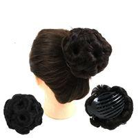 pains chignon achat en gros de-Griffe chignon chignon 9 fleurs de cheveux Coiffure accessoires de cheveux synthétiques clip chignon Ponytails Holder 5colors Facultatif