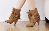 Wholesale Black Fringe Ribbon - hot seller big size we can do free shipping ankle boot fashion frosted fringe rude heel women boot