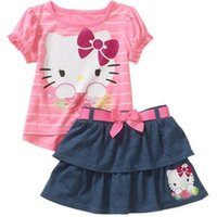 Wholesale Kitty Shorts - (0-4Y) girls set Hello Kitty Baby Toddler Girl Tee and Skirt Outfit Set Girls summer 2 pieces set roupas menino with bow free shipping