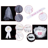 1 Set Bride To Be Rosetta Bianco Mantilla Badge Sash Garter Veil Hen Night Party Supplies Nozze