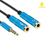 Wholesale Stereo Splitter - Latest 2 in 1 3.5mm Audio Jack to Earphone and Microphone Stereo Cable Male to Female Audio Splitter Adapter Connecter
