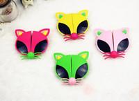 lindas gafas de sol de dibujos animados al por mayor-Cute Folding Cartoon Gafas de sol Colorful Fox Kids Gafas de sol Gafas UV400 24 Pcs / Lot Envío gratis