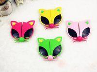 Wholesale Foxed Mirror - Cute Folding Cartoon Sunglasses Colorful Fox Kids Sunglasses Children Goggles UV400 24 Pcs Lot Free Shipping