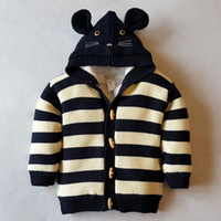 Wholesale Cardigan Sweater Outerwear Children - 2017 Winter Children Clothing Outerwear Boys Girls Double Breasted Hooded Sweater Cotton-Padded Thickening Jacket Best Gift 591