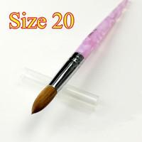 Wholesale Acrylic Nail Pens - 20# Acrylic Nail Art Brushes Pen Nail Brush 100% pure kolinsky For painting and Acrylic Powder carvi