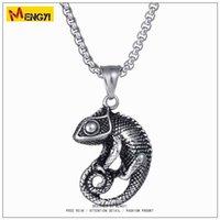 Wholesale Lizard Necklace Jewelry - 2018 Mens Hip Hop Jewelry High Quality Necklace Retro Silver Chain Popular Fashion lizard Pendant Jewelry