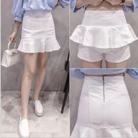 Wholesale ladies denim skirt mini - Women's summer denim jeans short mini skirts high waist ruffle jeans zipper skirts ladies mini skirts saia jeans feminina