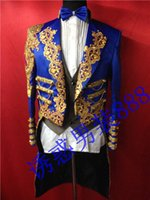 Wholesale Marry Dress Suits For Men - Wholesale- new man suit blazer Magic royal laciness tuxedo male married formal dress for singer dancer star performance show in stage bar