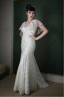 Wholesale Back Model U - Brand New Graecful 2017 Bohemian Full Lace Wedding Dresses U Neck Floor Length Bridal Wedding Gowns With Fluted Short Sleeves Custom Made