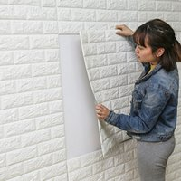 Wholesale Brick Wallpaper 3d - Wholesale- DIY Self Adhensive 3D Wall Stickers Bedroom Decor Foam Brick Room Decor Wallpaper Wall Decor Living Wall Sticker For Kids Room