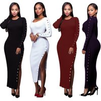 Wholesale Ankle Length Wool Dresses - 2017 Elegant Long Sheath Lady Dress with Long Side Split Button Long Sleeves Crew Neck Ankle Length Party Dresses In Stock S--XL