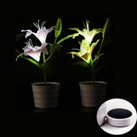 Wholesale Solar Power Flower Pot - Solar Powered Lily Lights With LED Mood Lighting in Each Flower Potted Artificial Plant Tabletop Flower Lamp Modern Decorative