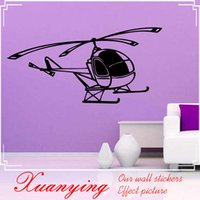 """Wholesale Design Transportation - 2017 Hot DIY Kids Room Vinyl Self Adhesive Small Helicopter Wall Sticker Removable Hollow Out Transportation Home Wall Mural """""""