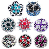 8 estilos Handmade Colorful Rhinestone Snap Button Charm Owl Windmill Heart Shape Flower Snap Button Bracelet Mulheres para Jóias DIY N210S