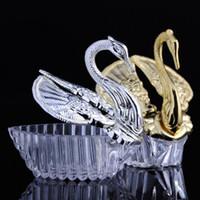 ingrosso favori di caramelle di cigno-300pcs stili europei acrilico argento Swan dolce regalo di nozze Jewely Candy Box Candy Gift Boxes Bomboniere titolari