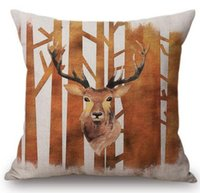 Brown Elk Reno Fox Conejo Algodón Lino Throw Pillows For Car Modern Animal Decoración Casual Art Cojín Funda de almohada cubierta