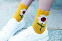 Wholesale hand knitting socks - Drop shipping Gift Lovely Ladies Korean Style Fashion Socks Women Winter sunflower Flower Candy Color Hand-made Socks