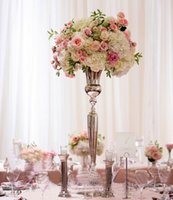 Wholesale Trumpet Decorations - Wedding decorative gold metal vase centerpieces trumpet flower vase with large bowl LLFA