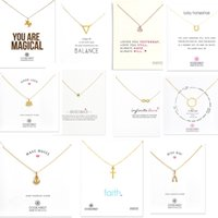 Wholesale Wedding Card White Gold - 11 Kinds With White Card Elephants Cross Unicorn Love Pendants Dogeared Necklace Short Clavicle chain Women Girl Fashion Wedding Jewelry