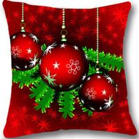 decoração bola vermelha venda por atacado-Impresso Capa de Almofada de Natal Red Decorativa de Natal Lance Fronha Natal Bola Fronha Xmas Decoração Presente 18 Quot; Dois Lados
