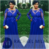 Wholesale Nude Tulle Sequin - 2017 Royal Blue Plus Size Evening Dresses With Long Sleeves Sheer Chiffon Appliques Lace Empire Formal Weddings Guest Prom Party Gowns